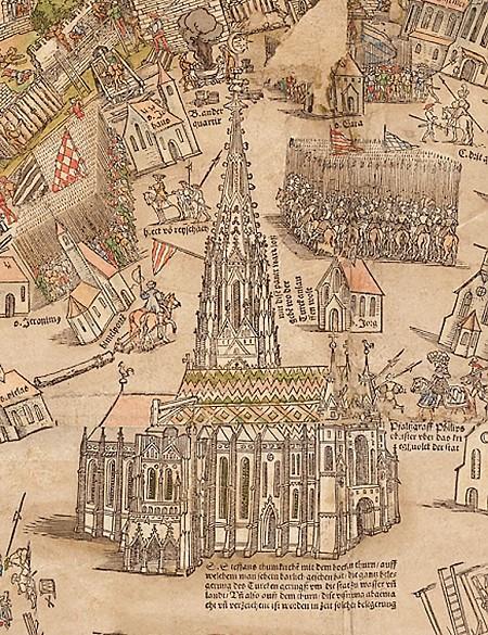 Stephansdom, Auschnitt aus dem Meldemann-Plan der Stadt Wien, kolorierter Holzschnitt, 1530