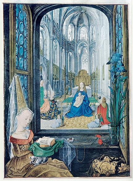 The *Hours of Mary of Burgundy*: Mary in church, miniature, c. 1477