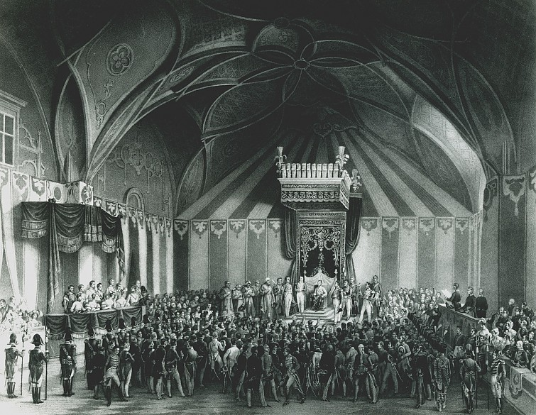 Scene from the coronation festivities for Ferdinand I in Prague, 1836: the ceremony of Hereditary Homage in...