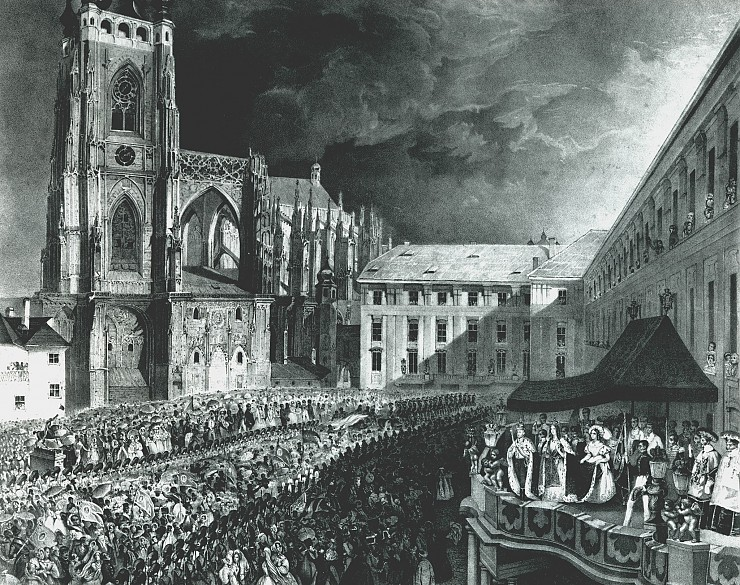 Scene from the coronation festivities for Ferdinand I in Prague, 1836: Ferdinand and Maria Anna as King and...