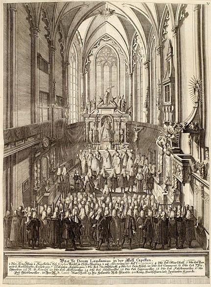 Tedeum in der Hofburgkapelle, Kupferstich, nach 1740