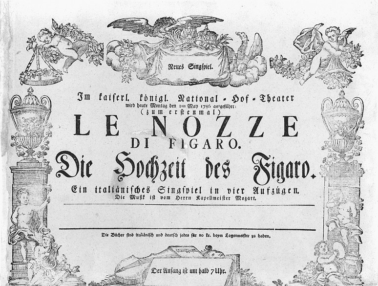Playbill advertising the premiere of Mozart's *Marriage of Figaro* at the Burgtheater on 1 May 1786
