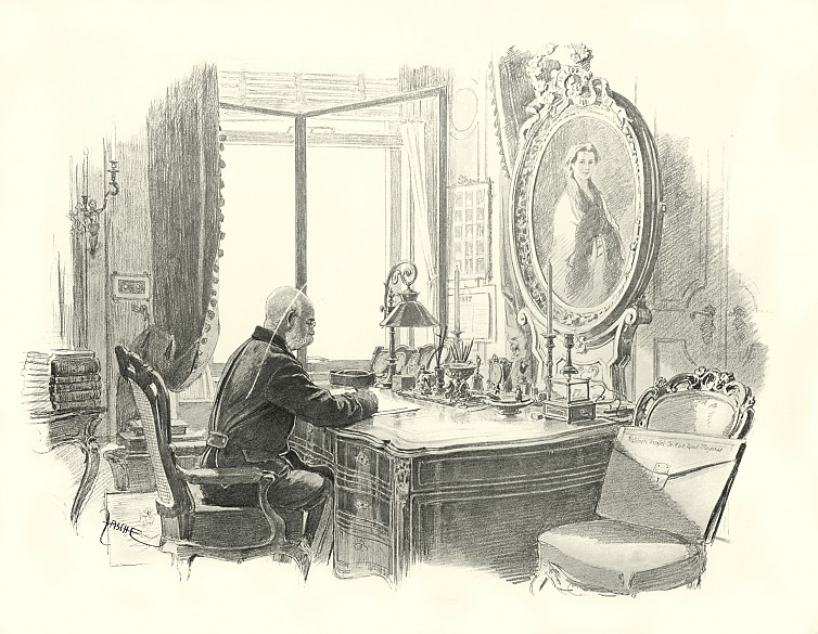 Theo Zasche: The Emperor at his desk, drawing, 1898