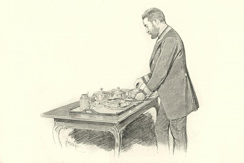 Theo Zasche: Leibbüchsenspanner Friedrich Spannbauer, Déjeuner anrichtend, Zeichnung, 1898