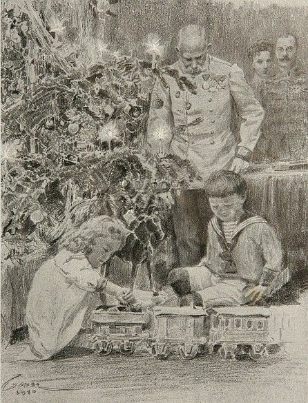 Under the Christmas tree at Wallsee, newspaper illustration, 1916