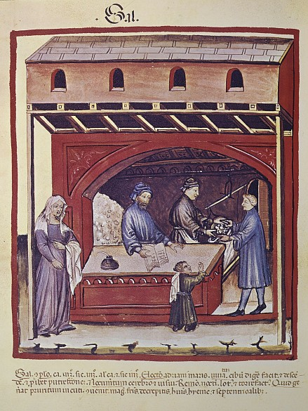 Selling salt in a shop, miniature from Tacuinum sanitatis, end of 14th century