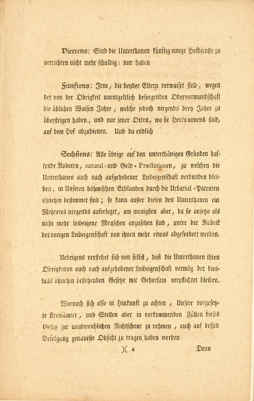 Joseph II's edict abolishing serfdom, 1781