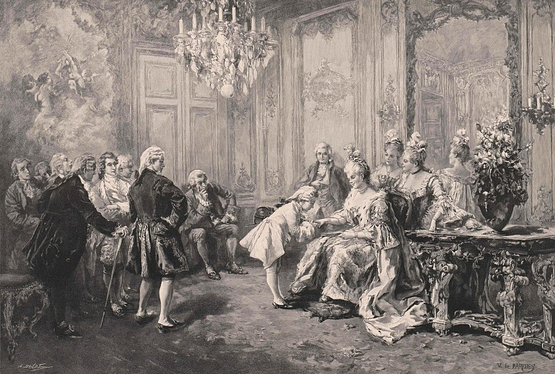 Vicente de Paredes: Mozart being presented to Mme Pompadour, xylograph