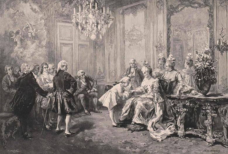 Vicente de Paredes: Mozart vor Mme. Pompadour, Xylografie