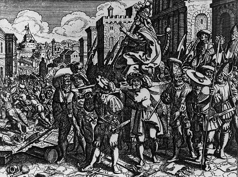 German mercenaries mocking Pope Clemens VII during the Sack of Rome in 1527, woodblock print from the histo...