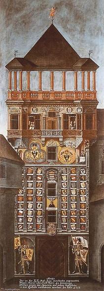Armorial Tower of the Innsbruck Hofburg, painting, 1768