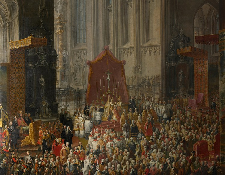 Studio of Court Painter Martin van Meytens: The Coronation in the Church of St Bartholomew in Frankfurt, oil …