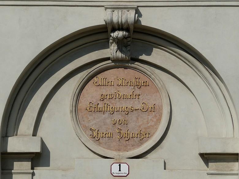 Joseph II's dedicatory inscription above the entrance to the Augarten