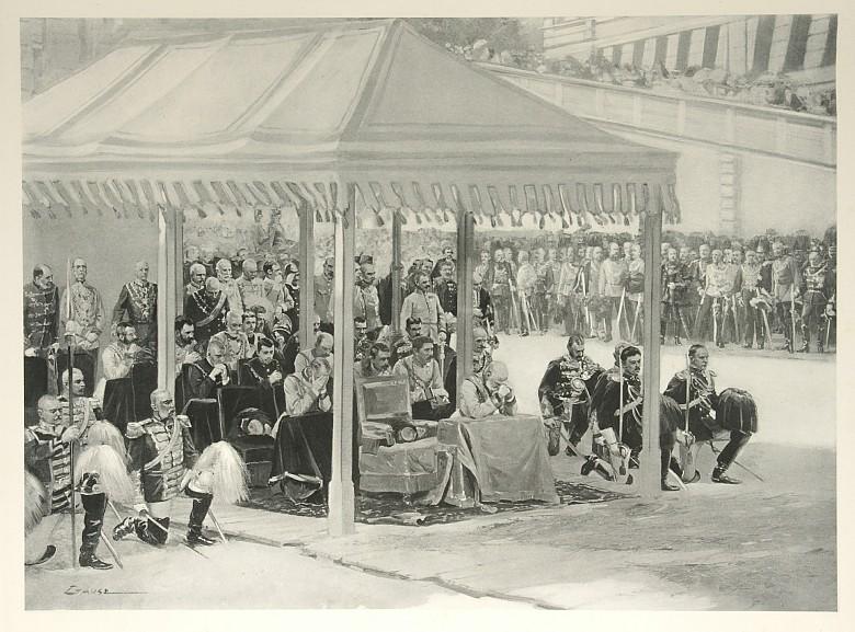 Wilhelm Gause: Fronleichnamsprozession: vor dem Altare auf dem Lobkowitzplatz (Ausschnitt), Zeichung, 1898