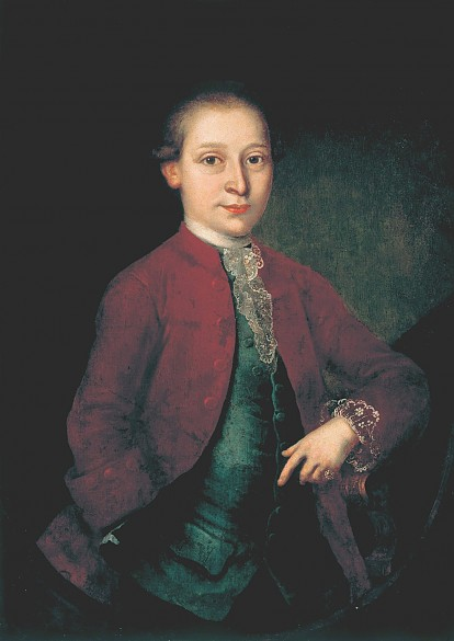 Wolfgang Amadé Mozart with the diamond ring, anonymous oil painting, c. 1775