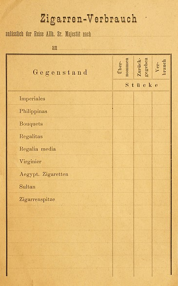 Chart for recording Franz Joseph's consumption of cigars, early 20th century
