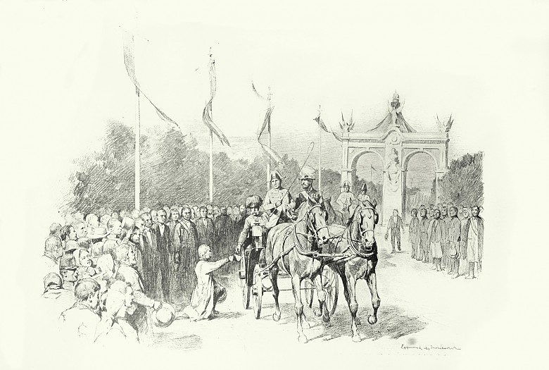 Zygmunt Ajdukiewicz: Lemberg: The Emperor accepts a petition, drawing, 1898