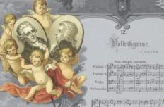 """Bildausschnitt: Joseph Haydn: Kaiserhymne, Noten und Text """"Gott erhalte Franz den Kaiser"""", dazwischen Bildnis Kaiser Franz II./I., farbiger Druck, 19. Jahrhundert"""