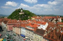 Graz's historic city with Clock Tower on Schlossberg
