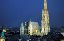 St Stephen's Cathedral in Vienna by night