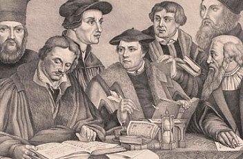 Acht Reformatoren (Bock, Hieronymus, Buchenhagen, Johann, Calvin, Johann, Hus, Johannes, Luther, Martin, Mela…