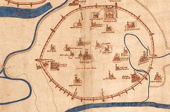 Albertinischer Plan – ältester Stadtplan von Wien, um 1421/22
