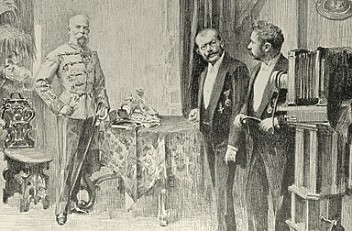 Artur Halmi: Kaiser Franz Joseph beim Hofphotographen Koller, Zeichnung, 1898