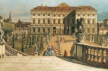 Bernardo Bellotto: The Liechtenstein summer palace seen from the gardens, oil on canvas