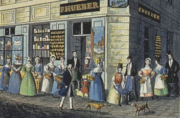 Carl Vasquez: 'Emporia of the pre-eminent tradesmen', coloured chalk lithograph, c. 1835
