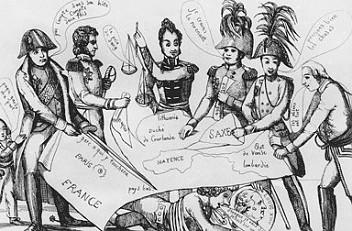 """""""Der Kuchen der Könige"""", Karikatur, 1815"""