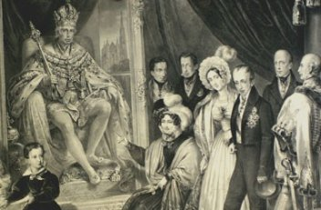 The imperial family in front of the portrait of Franz II (I), lithograph