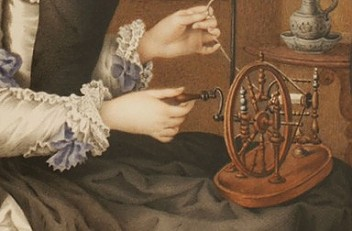 Archduchess Marie Christine with her spinning wheel, oil painting (detail), mid-18th century