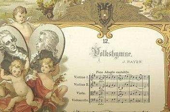 """Joseph Haydn: Kaiserhymne, Noten und Text """"Gott erhalte Franz den Kaiser"""", dazwischen Bildnis Kaiser Franz II…"""