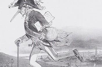 """Karikatur """"Jede Constitution erfordert Bewegung / den 14. März 1848"""""""