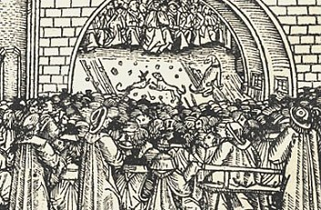 Crowds gathered to witness the exhibiting of the reliquary treasures of St Stephen, 1502