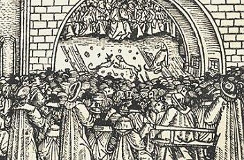 Menschenansammlung anlässlich Zurschaustellung der Reliquienschätze von St.Stephan 1502