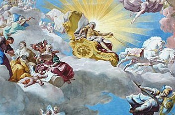 Paul Troger: Apotheosis of Charles V, ceiling fresco above the Emperor Staircase at Göttweig Abbey, 1739
