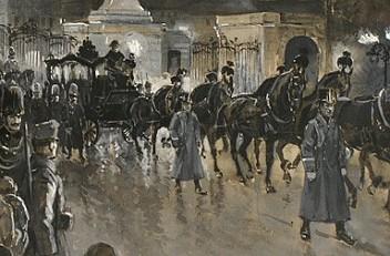R. von Meissl: The funeral cortege of Emperor Franz Joseph leaving Schönbrunn Palace, gouache, 1916
