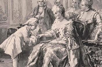 Vicente de Paredes: Mozart being presented to Mme Pompadour, xylograph