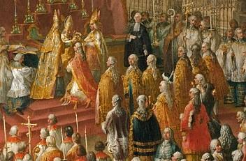 Studio of Court Painter Martin van Meytens: The Coronation of Joseph II as Roman King in the Church of St B...