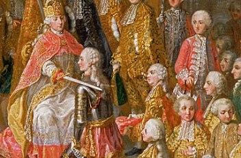 Werkstatt des Hofmalers Martin van Meytens: Ritterschlag nach der Krönungzeremonie; Zeremonienbild aus der Se…