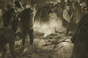 Wilhelm Gause: Viewing a large kill by torchlight in Mürzsteg, drawing, 1898