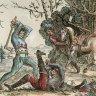 Hans Ulrich Franck: Ein Reiter, von zwei Soldaten mit Äxten attackiert, Radierung, 1643