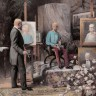 Emperor Franz Joseph sitting for a portrait in the studio of Prof. Siegmund L'Allemand.